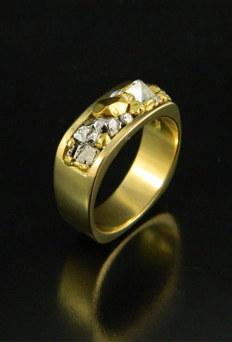 Natural Gold, Platinum and Diamond Crystal Wedding Band