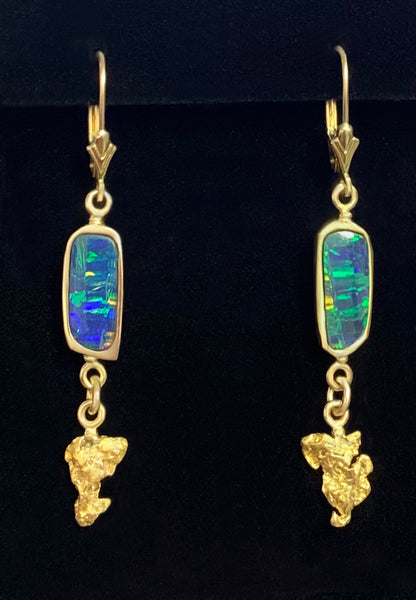 Australian Opal and Natural Gold Nugget Drop Earrings