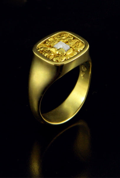 Signet Style Ring with Natural Gold and Diamond Crystal