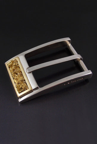 Natural Gold Nugget Inlay Sterling Silver Buckle