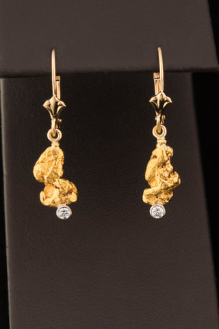 Natural Gold Nugget and Diamond Drop Earrings