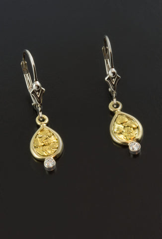 Diamond and Gold Nugget Earrings