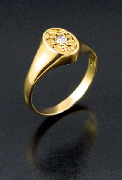 Diamond & Natural Gold Nugget Diamond Oval Ring