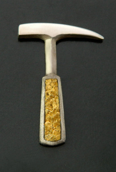 Gold Nugget Inlay Rockhammer Lapel Pin