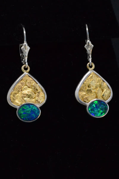 Australian Opal and Gold Nugget Earrings