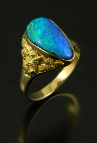 Opal & Natural Gold Nugget Ring