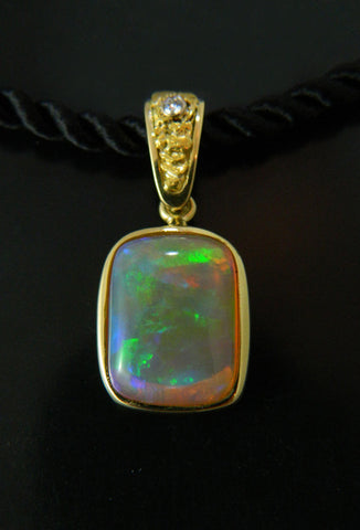 Opal Pendant with Diamond