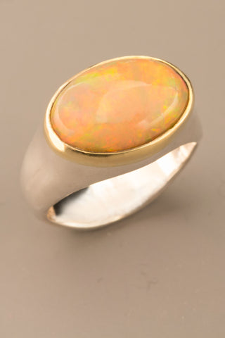 Orange Ethiopian Opal Ring