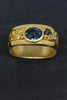 Montana Sapphire and Gold and Platinum Nugget Ring