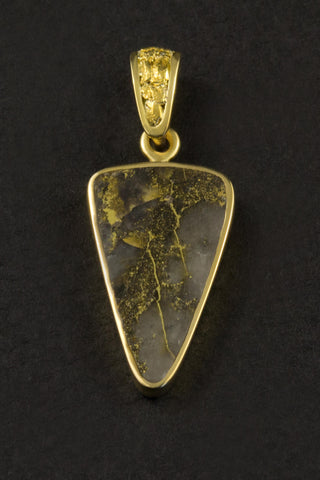 Gold in Quartz and Gold Nugget Pendant