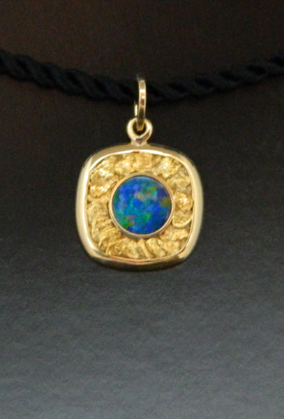 Opal Pendant with 18kt Gold & Natural Gold Nugget Inlay
