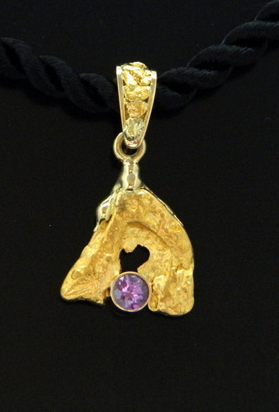 Natural Gold Nugget with Pink Sapphire