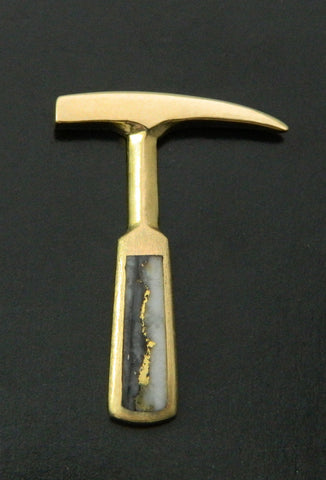 Gold in Quartz Rockhammer Lapel Pin