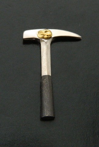Natural Gold Nugget Rockhammer Lapel Pin