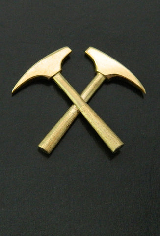 Crossed Miner Hammer Lapel Pin