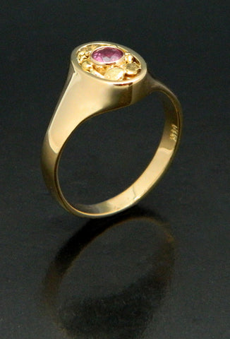 Pink Sapphire Gold Nugget Ring