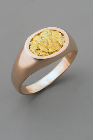 Pink Gold Signet Ring with Natural Gold Nugget