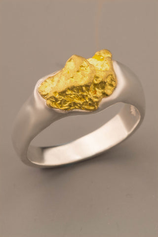 Australian Natural Gold Nugget & Sterling Silver Ring