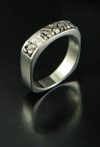 Rare Platinum Nugget and Diamond Wedding Band