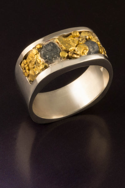 Raw Montana Sapphire Ring with Natural Gold Nuggets