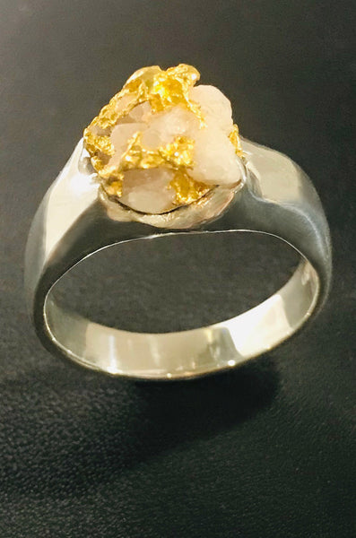 Natural Gold in Quartz & Sterling Silver Ring
