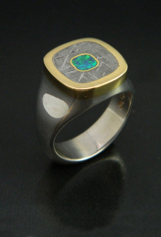 Gibeon Meteorite and Opal Ring