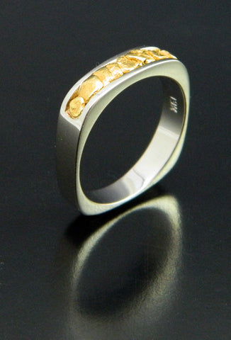 Natural Gold Nugget Wedding Band