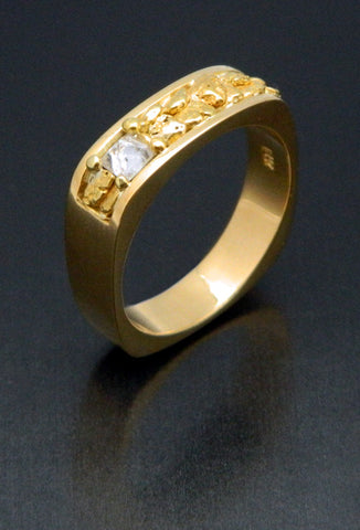 Natural Gold Nugget & Diamond Crystal Wedding Band