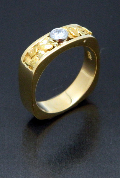 Natural Gold Nugget & Diamond Wedding Band