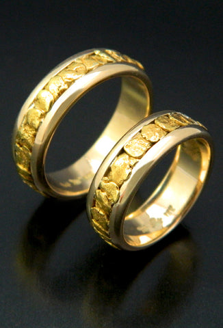 Natural Gold Nugget Wedding Band Set