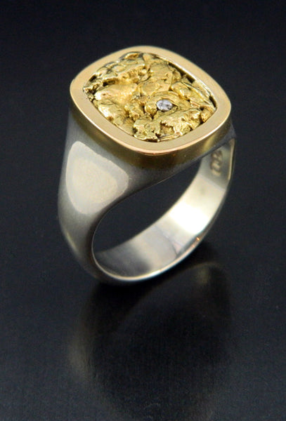 Natural Gold and Platinum Nugget Ring
