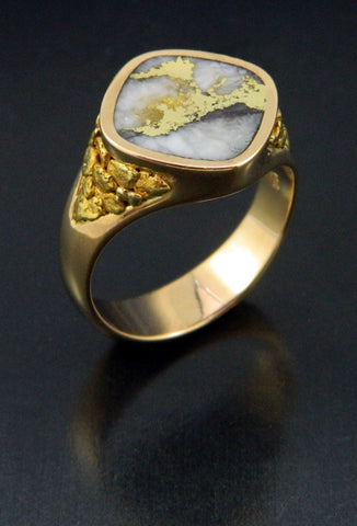 Gold in Quartz and Natural Gold Nugget Ring