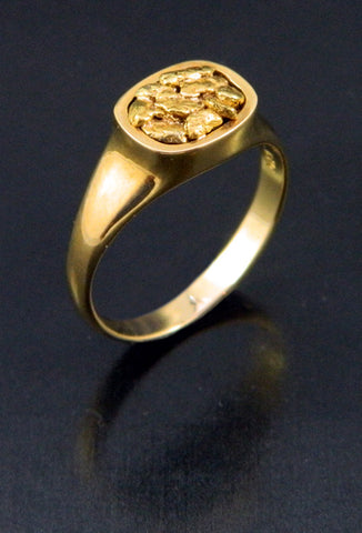 Natural Gold Nugget Cushion-Top Ring