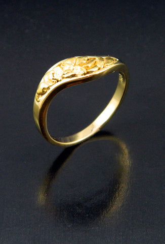 Natural Gold Nugget S-Curve Ring