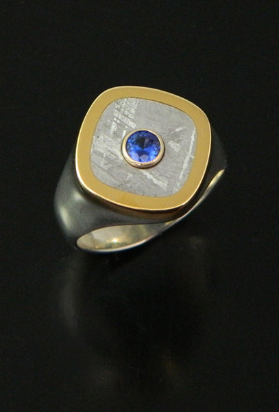 Gibeon Meteorite and Sapphire Ring