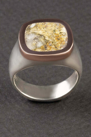 Gold Quartz in Rose Gold and Sterling Silver Ring