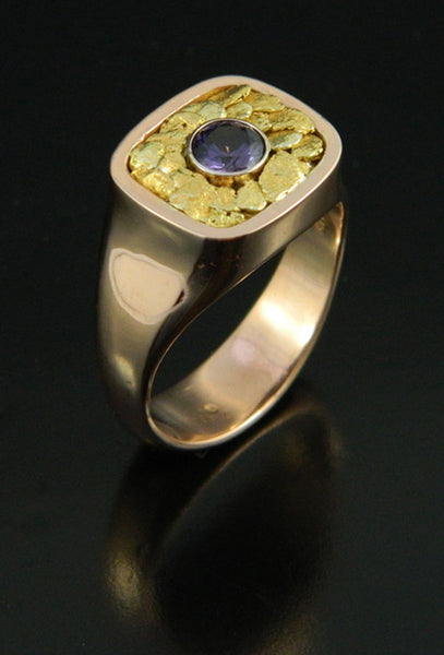 Gents Rose Gold Ring with Purple Sapphire