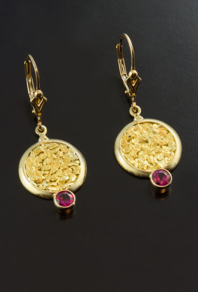 Ruby and Gold Nugget Earrings