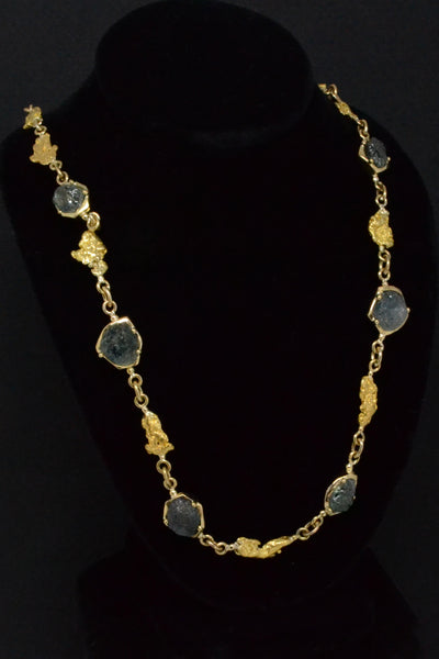 Montana Sapphire and Natural Gold Nugget Necklace