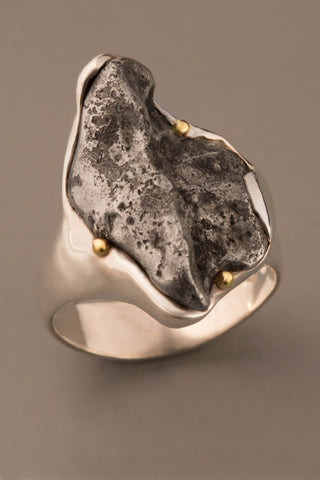Large Sikhote-Alin Meteorite Ring in Sterling Silver and 18kt Gold