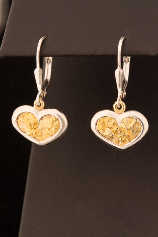 Natural Gold Nugget Heart earrings