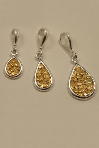 Natural Gold Nugget teardrop pendants