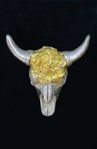 Special Edition Gold Nugget and Sterling Silver Buffalo Skull Lapel Pin