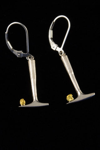 Gold Nugget Rock Hammer Earrings