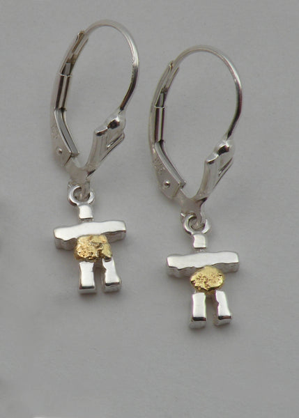 Sterling Silver and Gold Nugget Inukshuk Earrings - Small
