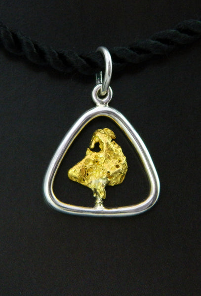 Gold Nugget in Sterling Silver