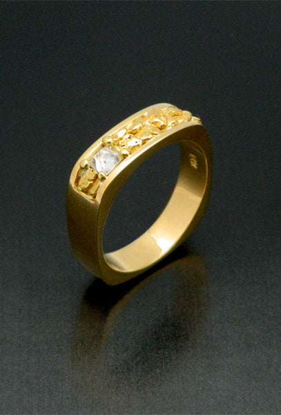 Natural Gold Nugget Wedding Band, with Raw Diamond Crystal