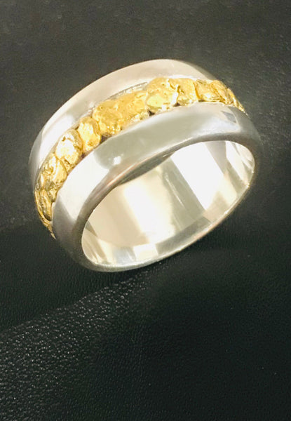 Sterling Silver Ring with Natural Gold Nuggets