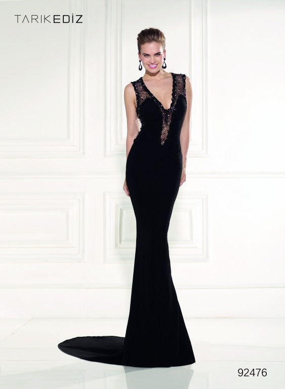 Tarik Ediz 92476 Beaded Sleeveless V Neckline Gown