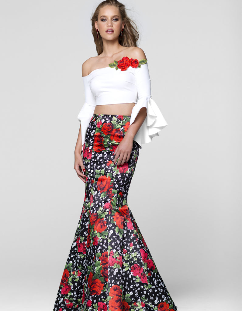 Tarik Ediz 50040 Two-Piece Floral Mermaid Dress